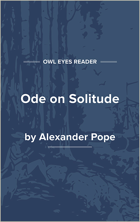 Ode on Solitude Cover Image